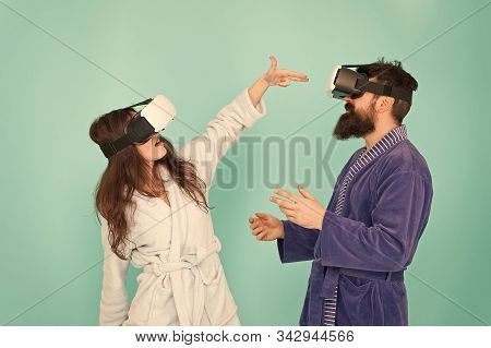 Enjoying New Experience. Family Couple Wear Vr Glasses. Girl And Man Hipster Relax. Morning Start Wi
