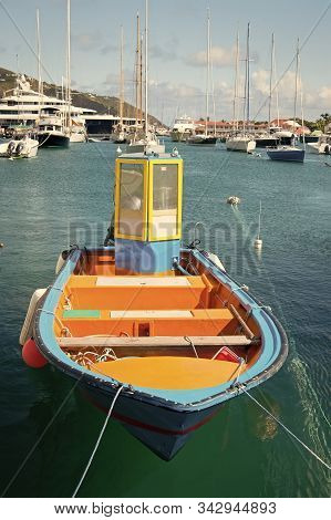 Welcome On The Deck. Sea Journey And Water Entertainment. Bright Boat At Sea Port St.barts Tropical