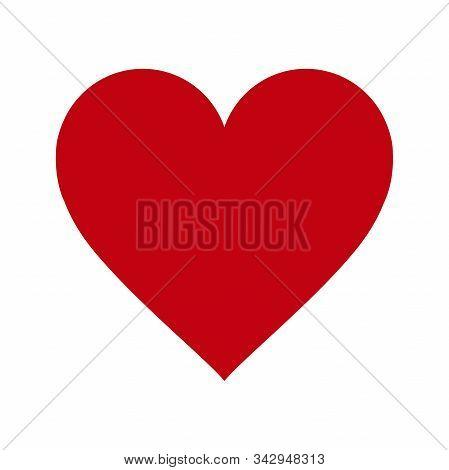 Red Heart Icon On White Background. Love Logo Heart Illustration.