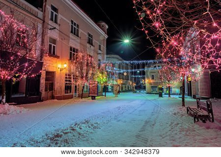 Uzhhorod, Ukraine - 06 Jan, 2019: Christmas Night Scenery Of Uzhgorod. Colorful Glowing Decorative I