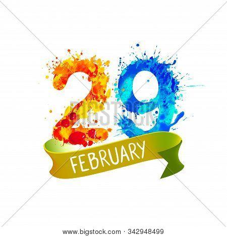 February 29 Leap Day. Vector Splash Paint Card