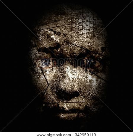Scary human face in dark colors. 3D rendering