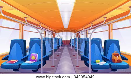 School Bus Interior With Blue Seats. Vector Cartoon Empty Passenger Cabin Of Public City Transport I