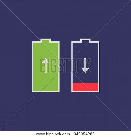 Flat Icon Battery Saver Isolated On Purple Background. Full And Almost Empty Battery. Vector Illustr