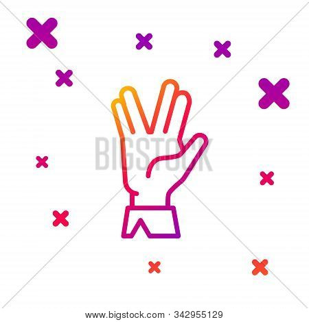 Color Line Vulcan Salute Icon Isolated On White Background. Hand With Vulcan Greet. Spock Symbol. Gr