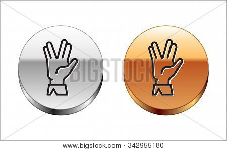 Black Line Vulcan Salute Icon Isolated On White Background. Hand With Vulcan Greet. Spock Symbol. Si