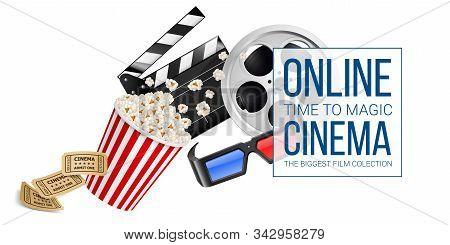 Cinematograph Concept Banner Design Template Withmovie Clapper Board, Cinema Ticket, Popcorn In The