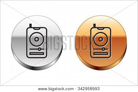 Black Line Music Player Icon Isolated On White Background. Portable Music Device. Silver-gold Circle