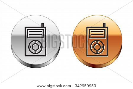 Black Line Music Mp3 Player Icon Isolated On White Background. Portable Music Device. Silver-gold Ci
