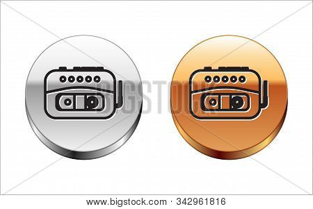 Black Line Music Tape Player Icon Isolated On White Background. Portable Music Device. Silver-gold C