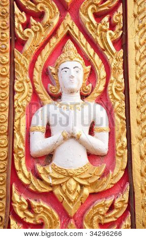 Buddhist Art Stucco On Wall