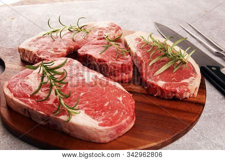 Variety Steak Raw. Barbecue Rib Eye Steak, Dry Aged Wagyu Entrecote Steak.