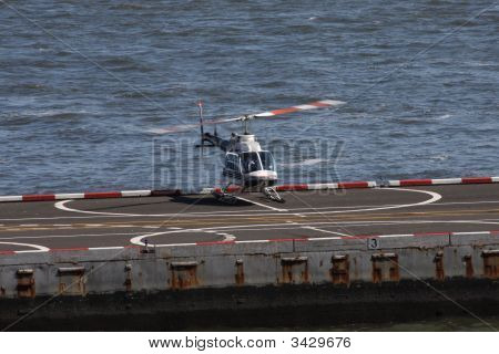 Sightseeing White Helicopter Blades Slight Motion