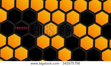 Abstract Vector Hexagonal Geometry Background. Surface Polygon Pattern With Hexagon Shadows, Honeyco