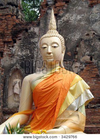 Buddha Dressed In Orange Robes