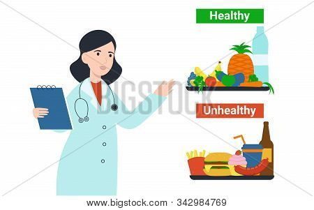 Nutritionist Dietolog Woman With Healthy And Unhealthy Products Food. Flat Vector Cartoon Illustrati