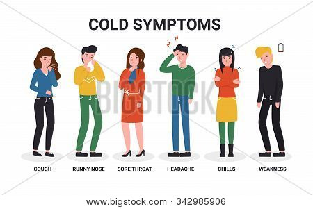 Set Sick People Have A Cold Or Flu Symptoms. Flat Vector Cartoon Characters Isolated White Backgroun