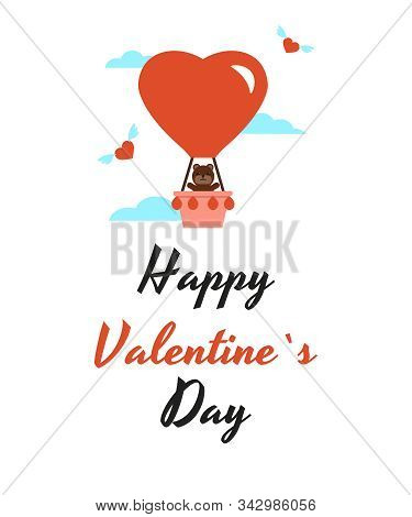 Valentine Day Card, Balloon And Bear