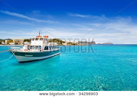 Ibiza Patja des Canar beach with turquoise water in Balearic islands