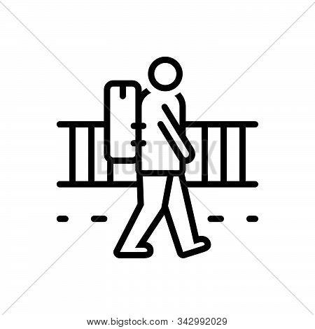 Black Line Icon For Vagrant Strolling Rangy Nomad Migratory Emigrant