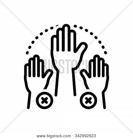 Black Line Icon For Absenteeism Absent Missing Hand