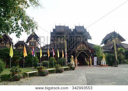 Phayao, Thailand  - 21 December, 2019 : Wat Nantaram Is A Tai Yai (shan-style) Community Temple In C