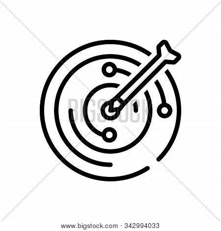Black Line Icon For Objective Target Goal Aim  Challenge Achievement