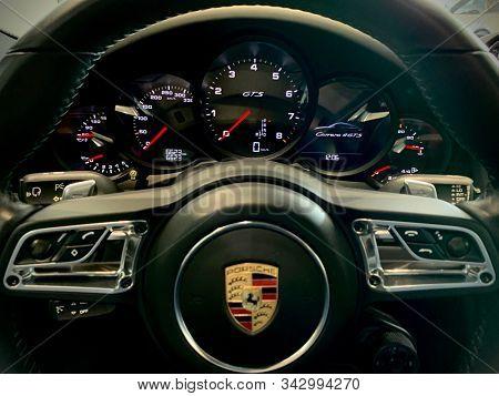 VALENCIA, SPAIN - JANUARY 3: interior detail of porsche Carrera 4 gts sport car on January 3, 2020 in Valencia, Spain