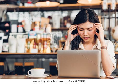 Freelance Business Woman Working With Laptop Computer He Was Stressed Out With Job Failing Bankruptc