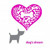Contemporary illustration - Dog Dreaming About A Bone. Vector. poster