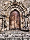 Door of Santa Maria del Azogue church in Puebla de Sanabria (Spain) poster