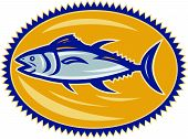 Illustration of a blue fin tuna side view set inside ellipse done in retro style on isolated white background. poster