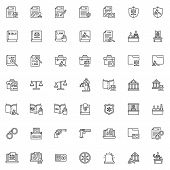 Law and justice line icons set. Judgement linear style symbols collection outline signs pack. vector graphics. Set includes icons as courthouse, legal documents, lawyer attorney, jury, judge courtroom poster