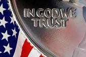 Red White and Blue From American Flag Reflected in God We Trust Motto on Vintage Retro 1967 United States Quarter poster