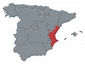 Political map of Spain with the several regions where the Valencian Community is highlighted. poster
