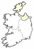Political map of Ireland with the several provinces where Ulster is highlighted. poster