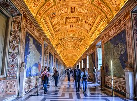 People Visit Vatican Museums