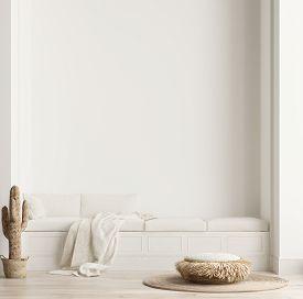 Minimalist Modern Living Room Interior Background, Scandinavian Style, 3d Illustration