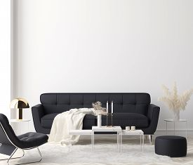 Minimalist Modern Living Room Interior Background, 3d Illustration