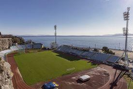 Rijeka, Croatia - December 11, 2019: Attractive An Unique Football Stadium Of Nk Rijeka. The Kantrid