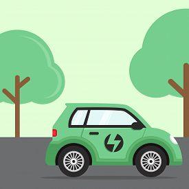 Electric Car Flat, Electric Car Design, Electric Car Vector, Electric Car Illustration, Electric Car
