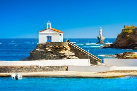 View Of Andros, Beautiful Island In The Cyclades, Greece