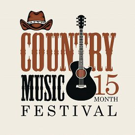 Vector Poster For Country Music Festival With Brown Cowboy Hat And Electric Guitar, On A Light Backg