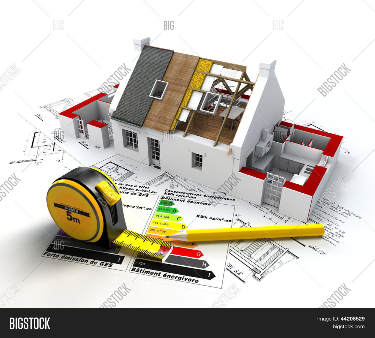 3D Rendering Of A House In Construction, On Top Of Blueprints, With And  Energy