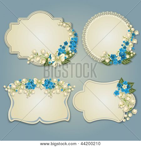 Set of vintage greeting cards with spring flowers.