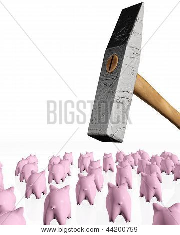 Piggy Banks Under The Hit Of The Hammer