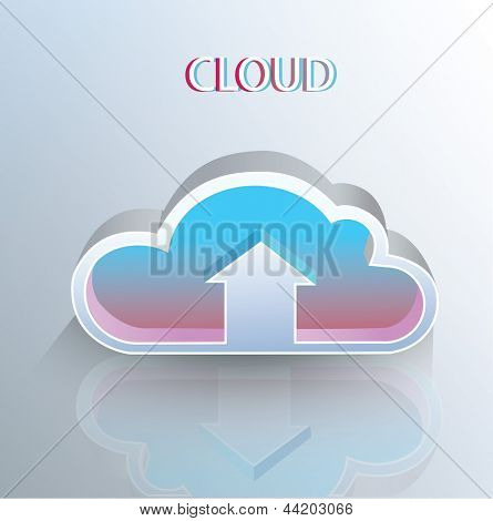Cloud concept blue color. Mobile icons for infographics.