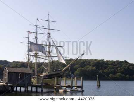 Vintage Sailing Boat In Natural Harbor