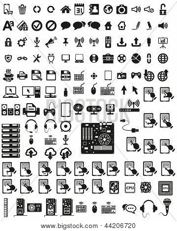 Set of computers and hardware icons.