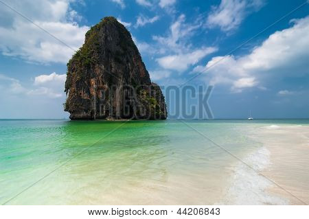 Tropical Beach Landscape With Rock Formation Island And Ocean. Pranang Cave Beach, Railay, Thailand